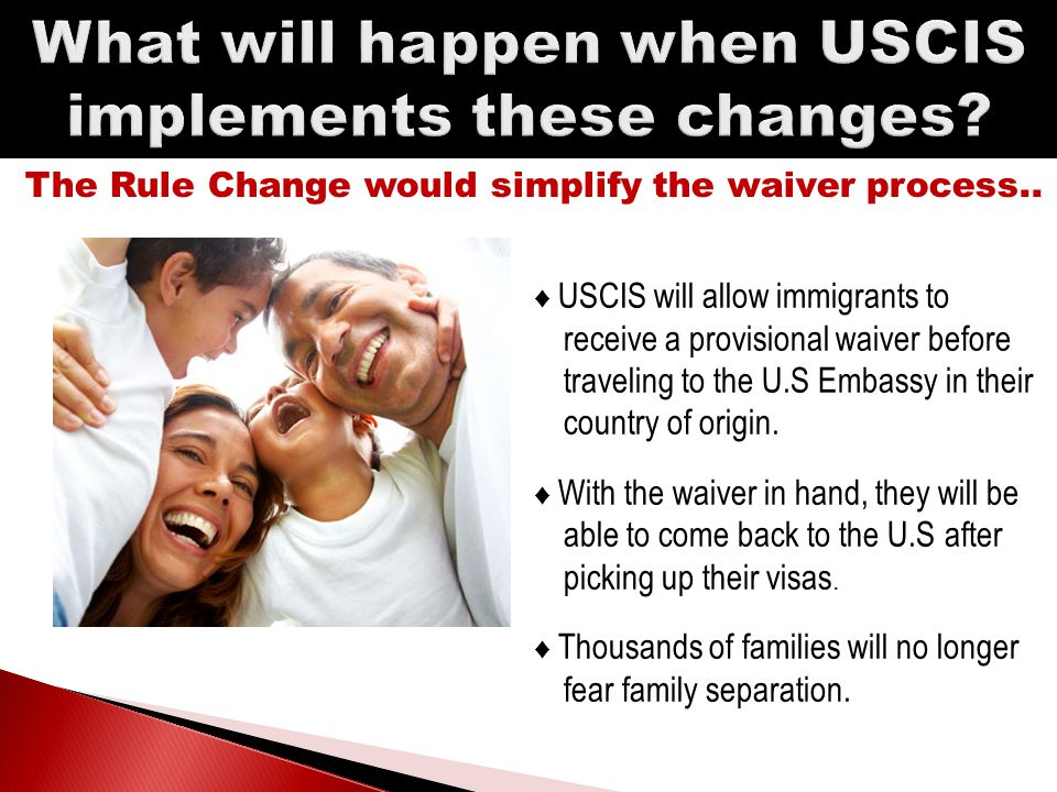 1.This IS NOT A LAW. It just changes the procedure to receive a Waiver.