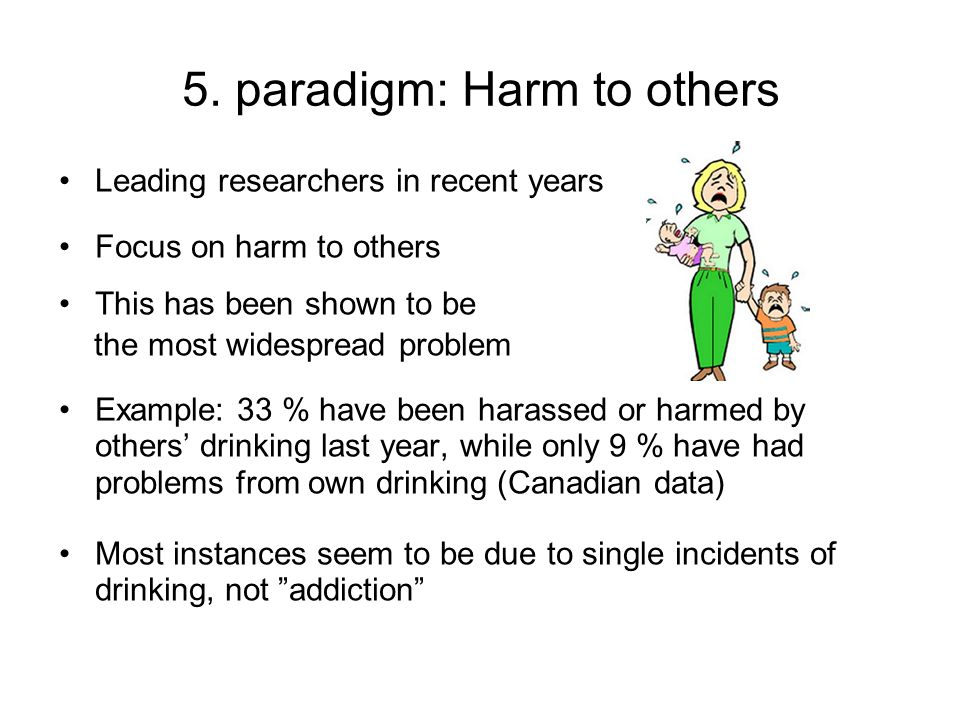 5. paradigm: Harm to others Leading researchers in recent years Focus on harm to others This has been shown to be the most widespread problem Example:
