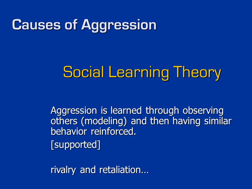 Causes of Aggression Social Learning Theory Aggression is learned through observing others (modeling) and then having similar behavior reinforced. [su