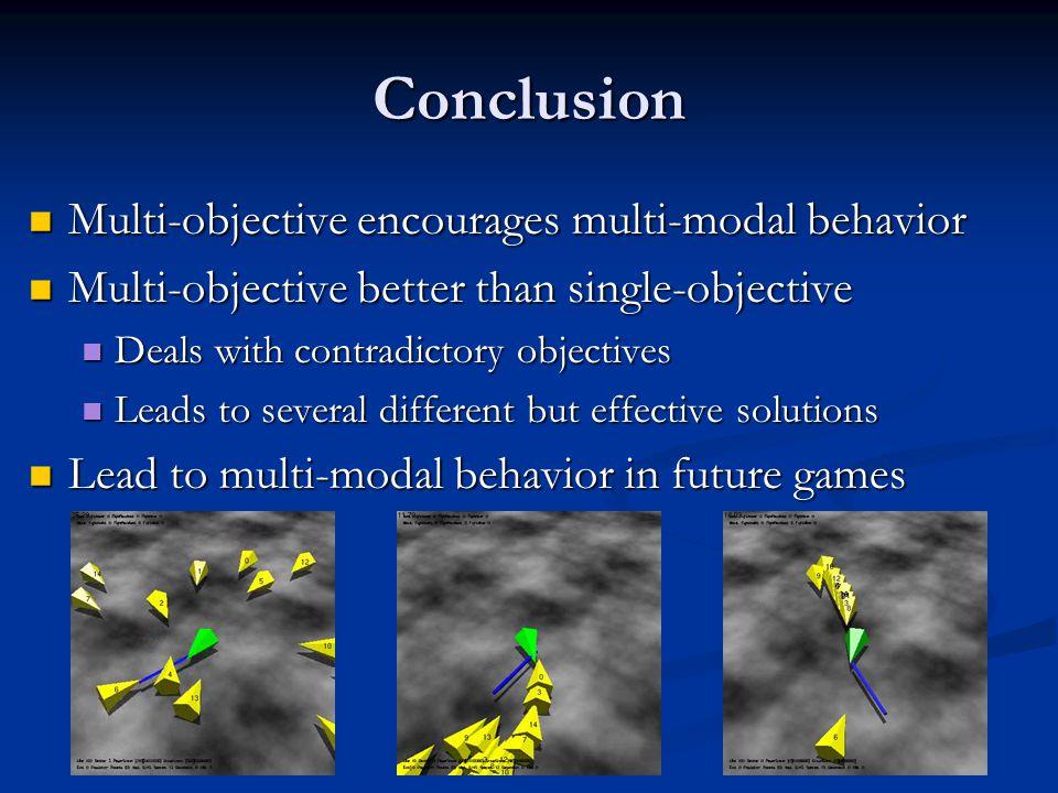 Conclusion Multi-objective encourages multi-modal behavior Multi-objective encourages multi-modal behavior Multi-objective better than single-objectiv