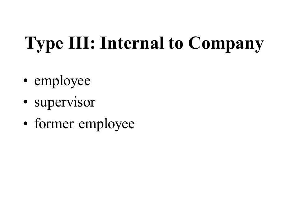 Types II: By a Customer or Client: client customer patient student inmate relative vendor contractor