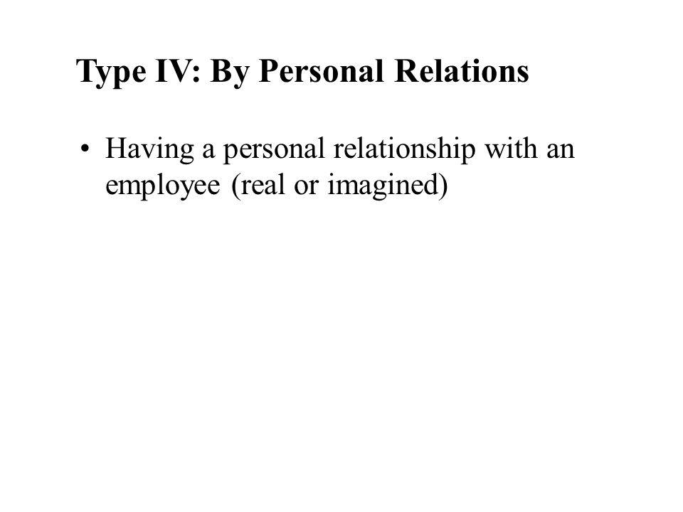 employee supervisor former employee Type III: Internal to Company