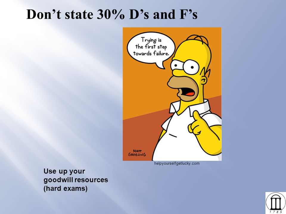 Don't state 30% D's and F's Use up your goodwill resources (hard exams) helpyourselfgetlucky.com