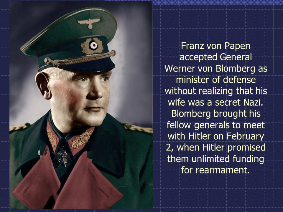 Franz von Papen accepted General Werner von Blomberg as minister of defense without realizing that his wife was a secret Nazi.