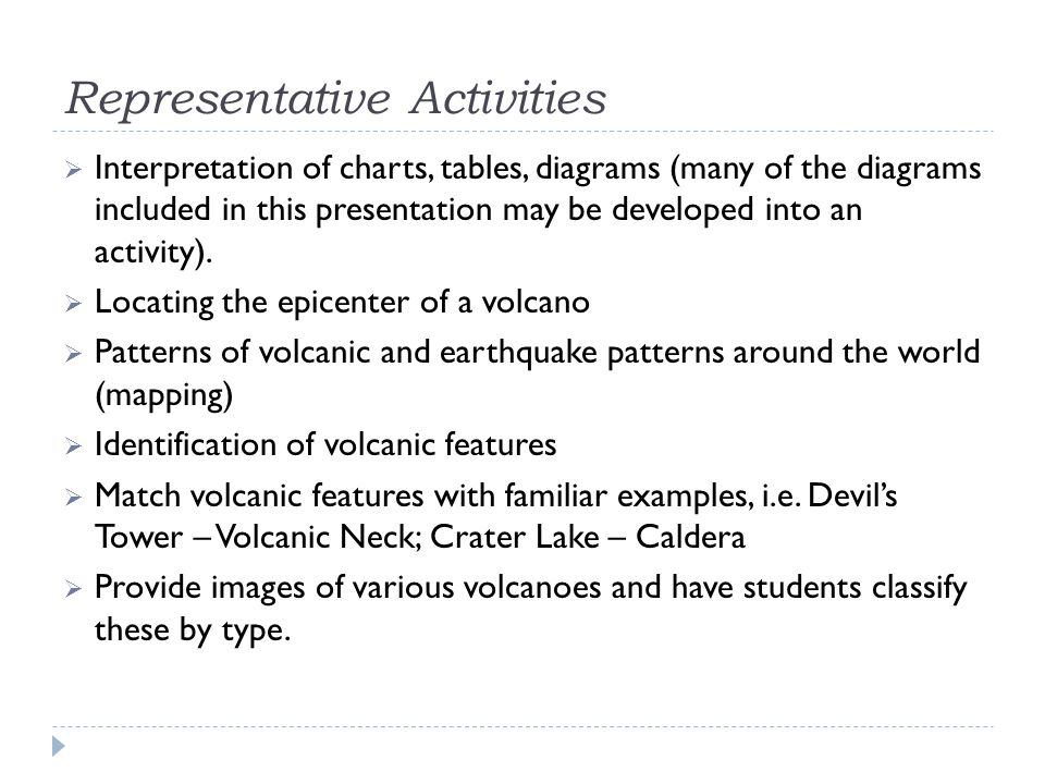 Representative Activities  Interpretation of charts, tables, diagrams (many of the diagrams included in this presentation may be developed into an ac