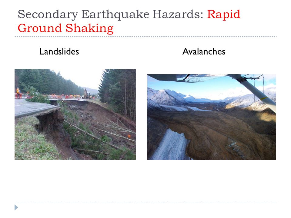 Secondary Earthquake Hazards: Rapid Ground Shaking LandslidesAvalanches