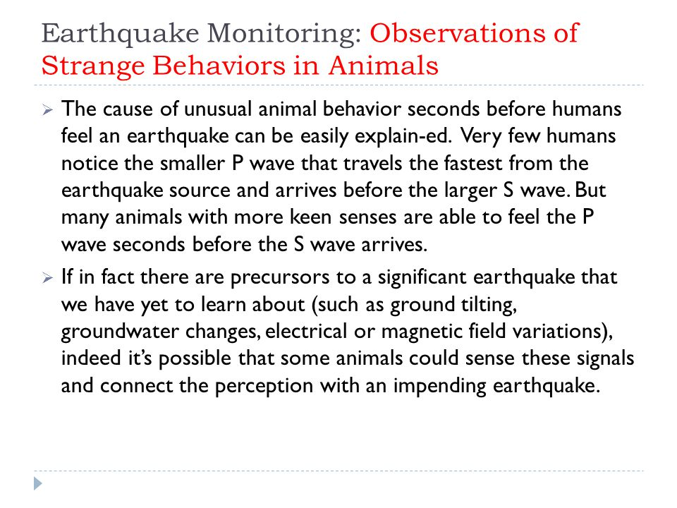 Earthquake Monitoring: Observations of Strange Behaviors in Animals  The cause of unusual animal behavior seconds before humans feel an earthquake can be easily explain-ed.