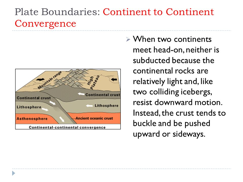 Plate Boundaries: Continent to Continent Convergence  When two continents meet head-on, neither is subducted because the continental rocks are relatively light and, like two colliding icebergs, resist downward motion.