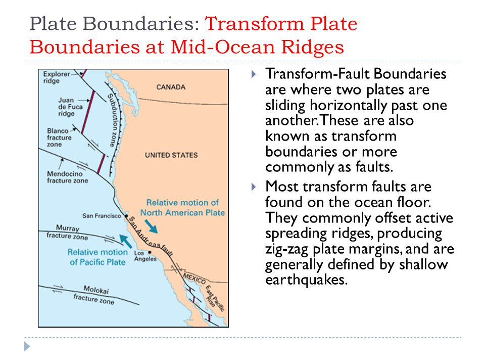 Plate Boundaries: Transform Plate Boundaries at Mid-Ocean Ridges  Transform-Fault Boundaries are where two plates are sliding horizontally past one a