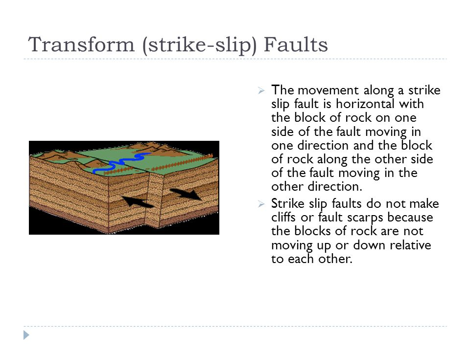 Transform (strike-slip) Faults  The movement along a strike slip fault is horizontal with the block of rock on one side of the fault moving in one di
