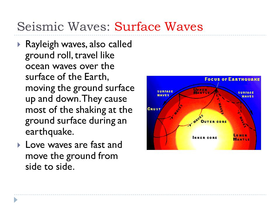 Seismic Waves: Surface Waves  Rayleigh waves, also called ground roll, travel like ocean waves over the surface of the Earth, moving the ground surface up and down.