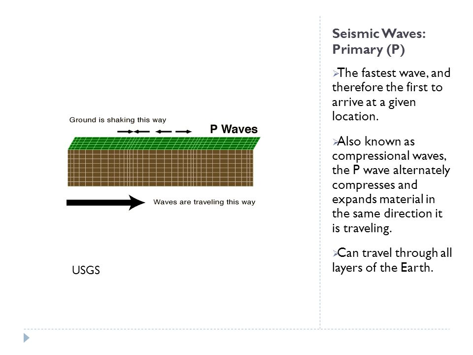 Seismic Waves: Primary (P)  The fastest wave, and therefore the first to arrive at a given location.  Also known as compressional waves, the P wave
