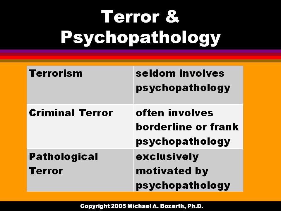 Copyright 2005 Michael A. Bozarth, Ph.D. Terror & Psychopathology
