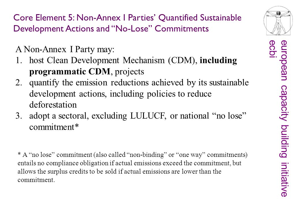 european capacity building initiativeecbi Core Element 5: Non-Annex I Parties' Quantified Sustainable Development Actions and No-Lose Commitments A Non-Annex I Party may: 1.host Clean Development Mechanism (CDM), including programmatic CDM, projects 2.quantify the emission reductions achieved by its sustainable development actions, including policies to reduce deforestation 3.adopt a sectoral, excluding LULUCF, or national no lose commitment* * A no lose commitment (also called non-binding or one way commitments) entails no compliance obligation if actual emissions exceed the commitment, but allows the surplus credits to be sold if actual emissions are lower than the commitment.