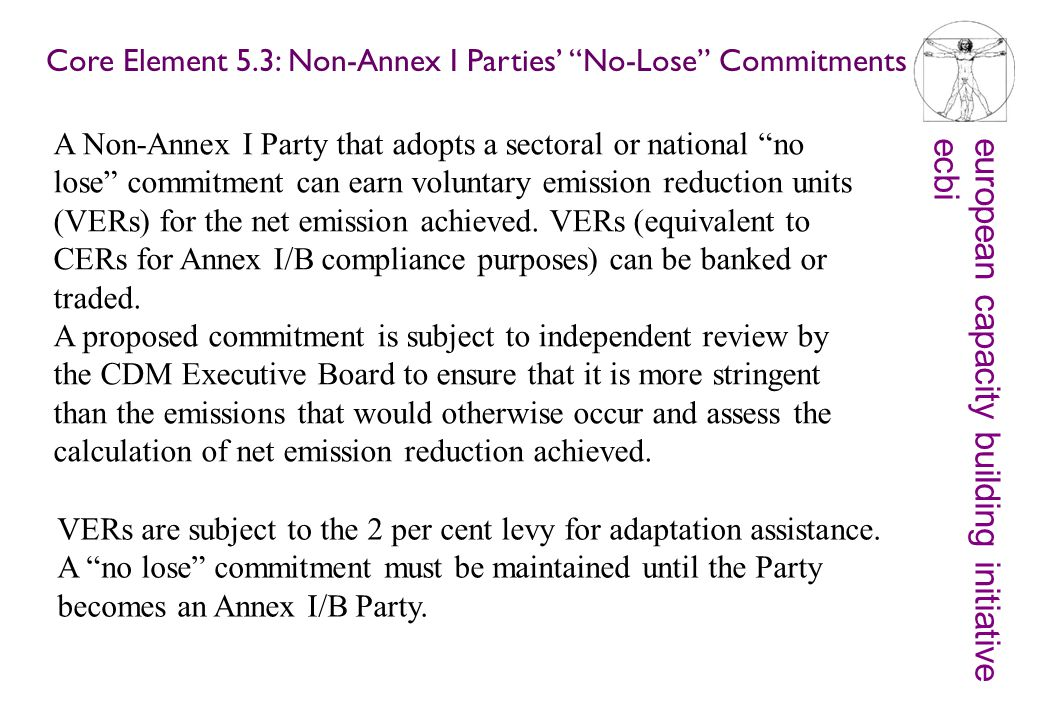 european capacity building initiativeecbi A Non-Annex I Party that adopts a sectoral or national no lose commitment can earn voluntary emission reduction units (VERs) for the net emission achieved.