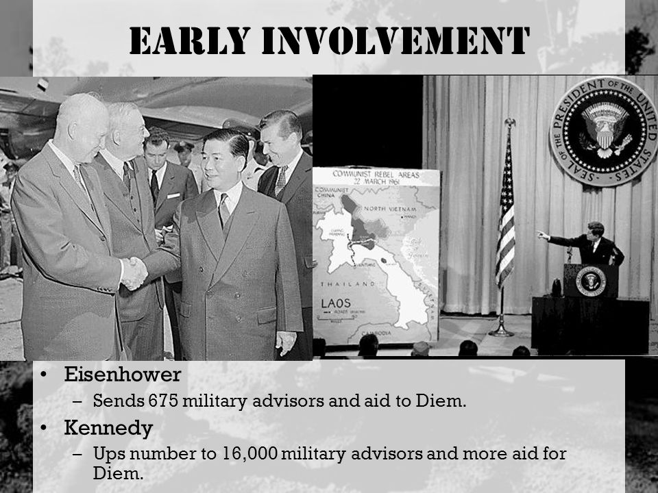 Early Involvement Eisenhower –Sends 675 military advisors and aid to Diem. Kennedy –Ups number to 16,000 military advisors and more aid for Diem.