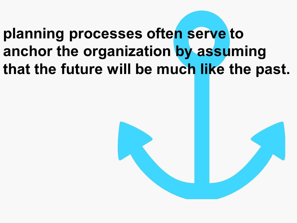 planning processes often serve to anchor the organization by assuming that the future will be much like the past.