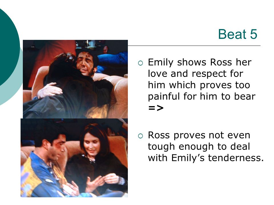 Beat 5 EEmily shows Ross her love and respect for him which proves too painful for him to bear => RRoss proves not even tough enough to deal with Emily's tenderness.