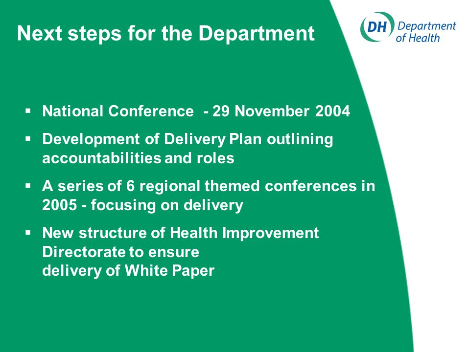 Next steps for the Department  National Conference - 29 November 2004  Development of Delivery Plan outlining accountabilities and roles  A series of 6 regional themed conferences in 2005 - focusing on delivery  New structure of Health Improvement Directorate to ensure delivery of White Paper