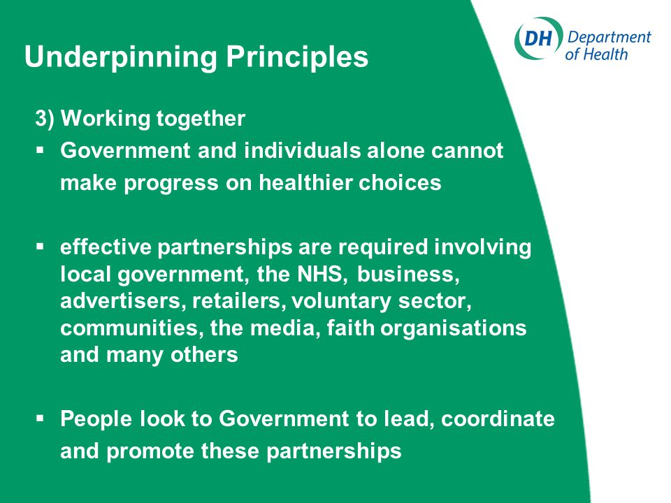 Underpinning Principles 3) Working together  Government and individuals alone cannot make progress on healthier choices  effective partnerships are required involving local government, the NHS, business, advertisers, retailers, voluntary sector, communities, the media, faith organisations and many others  People look to Government to lead, coordinate and promote these partnerships
