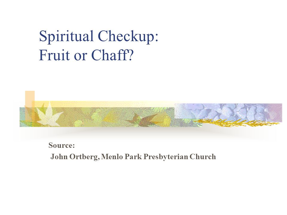 Spiritual Checkup: Fruit or Chaff? Source: John Ortberg, Menlo Park Presbyterian Church