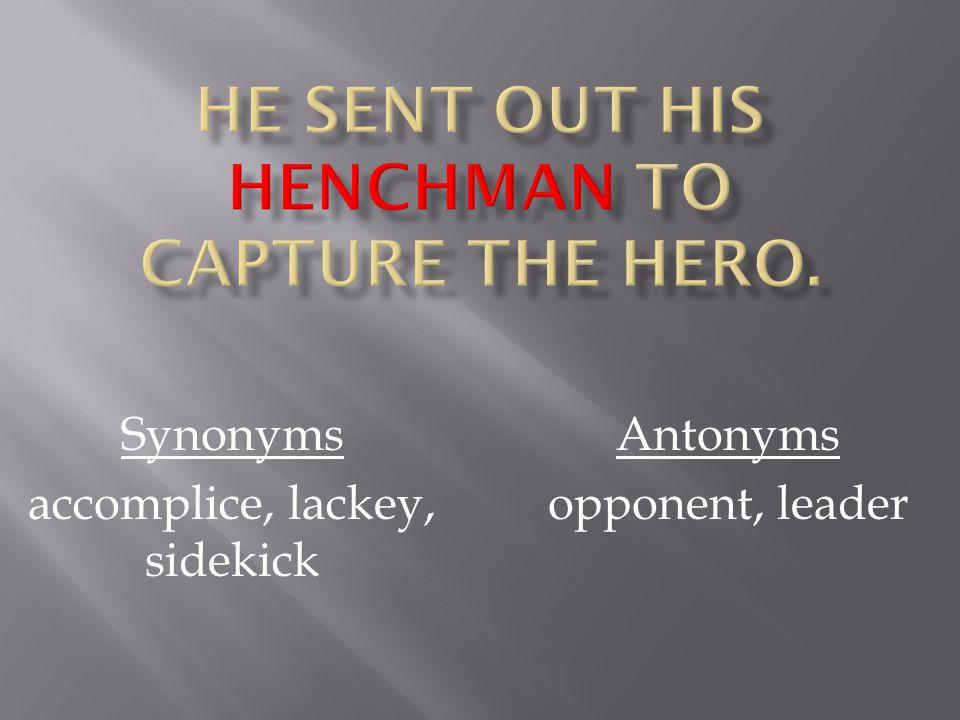 Synonyms accomplice, lackey, sidekick Antonyms opponent, leader