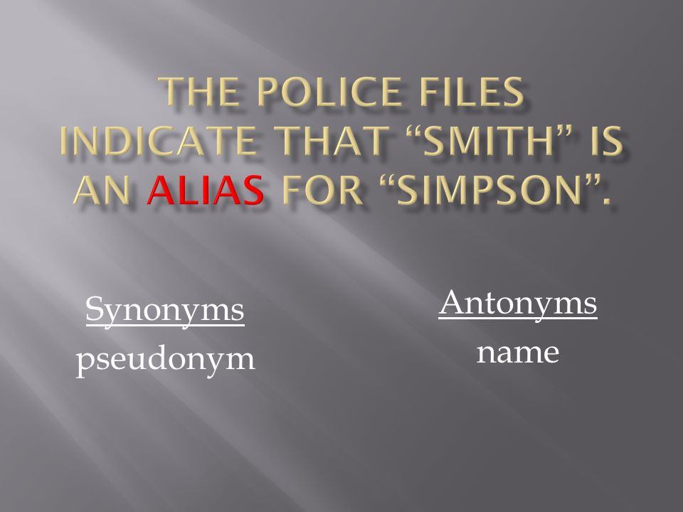 Synonyms pseudonym Antonyms name