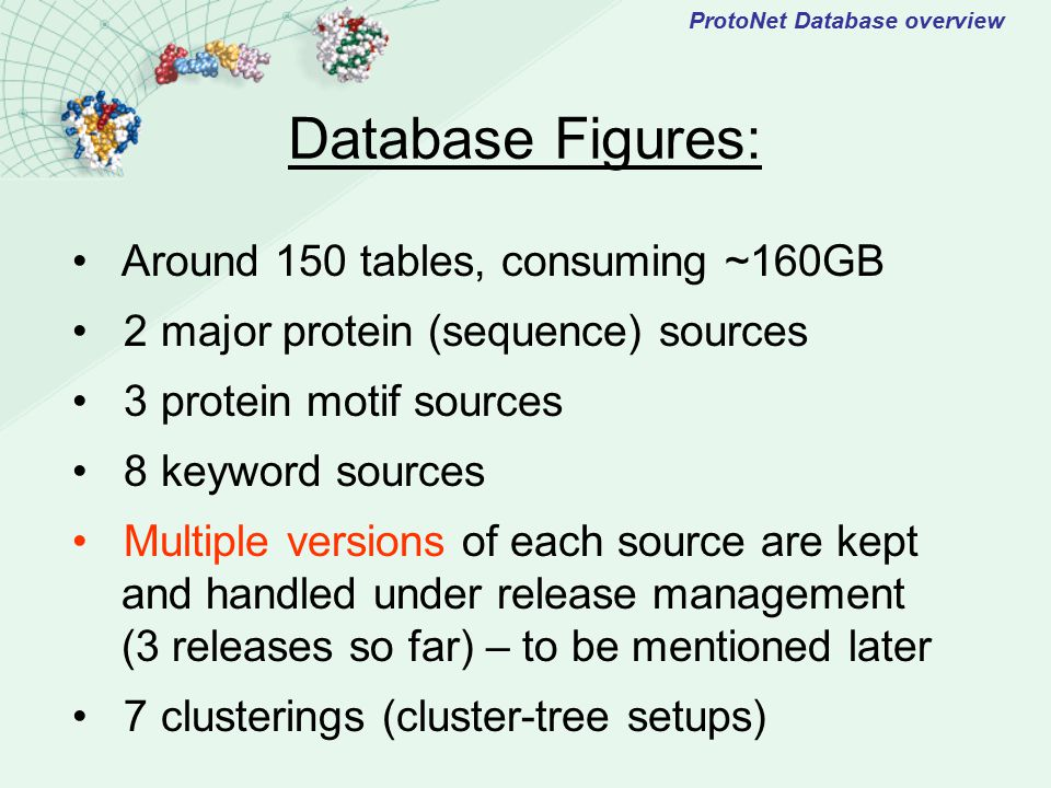 AVA Blast ProtoNet Database overview KeywordsMotif SystemsAnnotation SystemsProteins Clustering Annotated Clustering Clusters Tree Combining annotations with the clustering