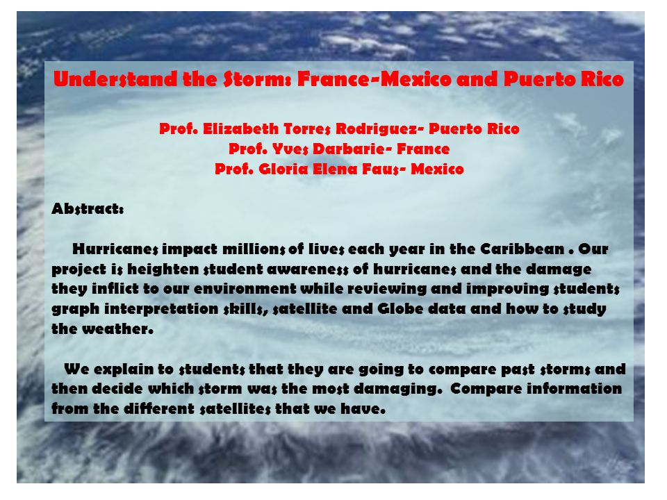 Understand the Storm: France-Mexico and Puerto Rico Prof.