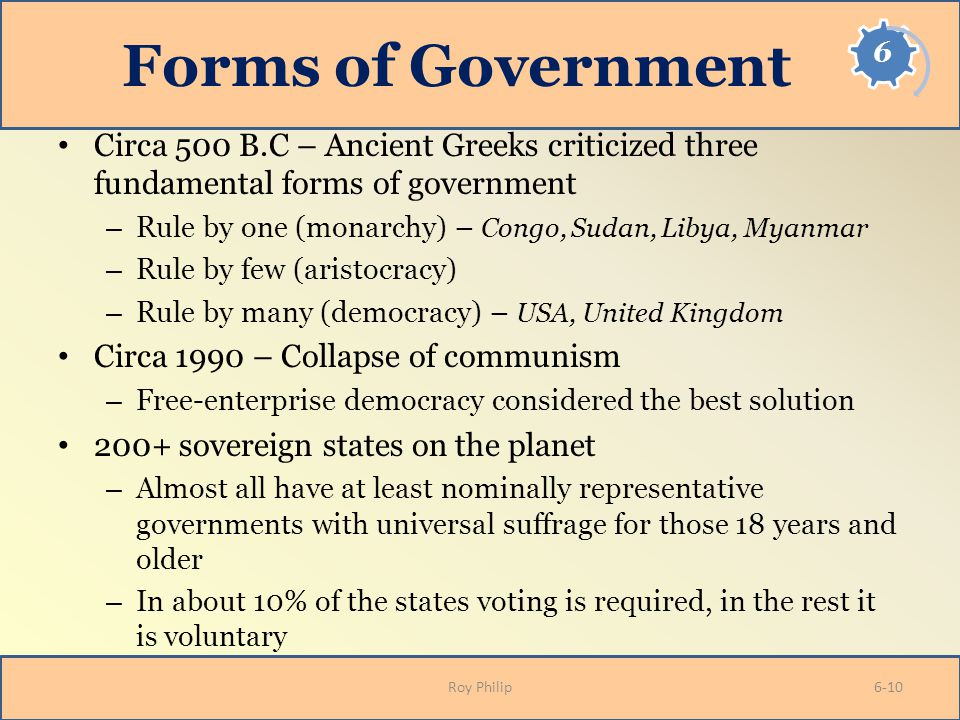 Forms of Government Circa 500 B.C – Ancient Greeks criticized three fundamental forms of government – Rule by one (monarchy) – Congo, Sudan, Libya, My