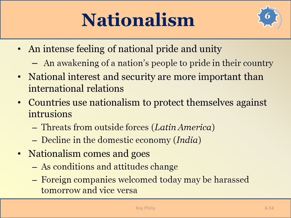 Nationalism An intense feeling of national pride and unity – An awakening of a nation's people to pride in their country National interest and securit