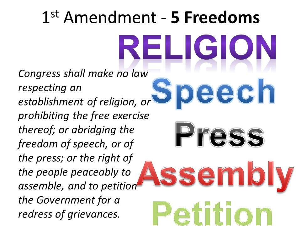 1 st Amendment - 5 Freedoms Congress shall make no law respecting an establishment of religion, or prohibiting the free exercise thereof; or abridging the freedom of speech, or of the press; or the right of the people peaceably to assemble, and to petition the Government for a redress of grievances.