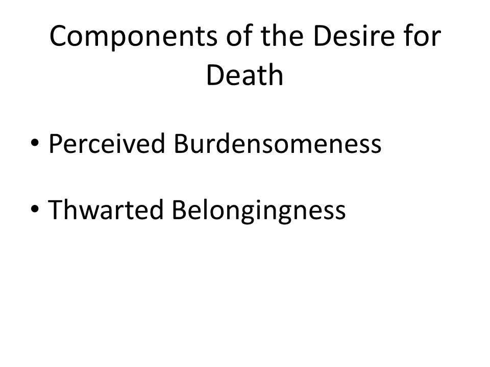 Components of the Desire for Death Perceived Burdensomeness Thwarted Belongingness