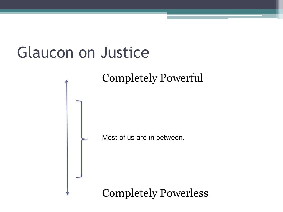 Glaucon on Justice Completely Powerful Completely Powerless Most of us are in between.