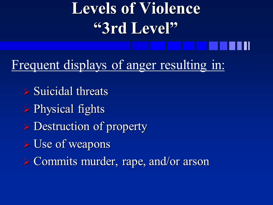 Levels of Violence 3rd Level  Suicidal threats  Physical fights  Destruction of property  Use of weapons  Commits murder, rape, and/or arson Frequent displays of anger resulting in: