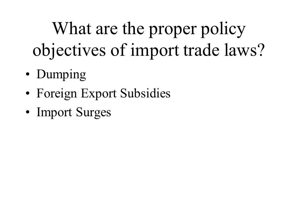 Problems with antidumping Difficulties of measuring marginal cost Treatment of cost of new operations Nexus between market barriers and probability of successful predation Definition of relevant market