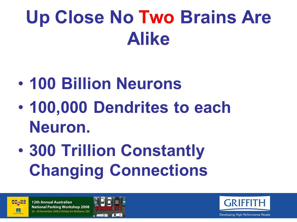 Up Close No Two Brains Are Alike 100 Billion Neurons 100,000 Dendrites to each Neuron.