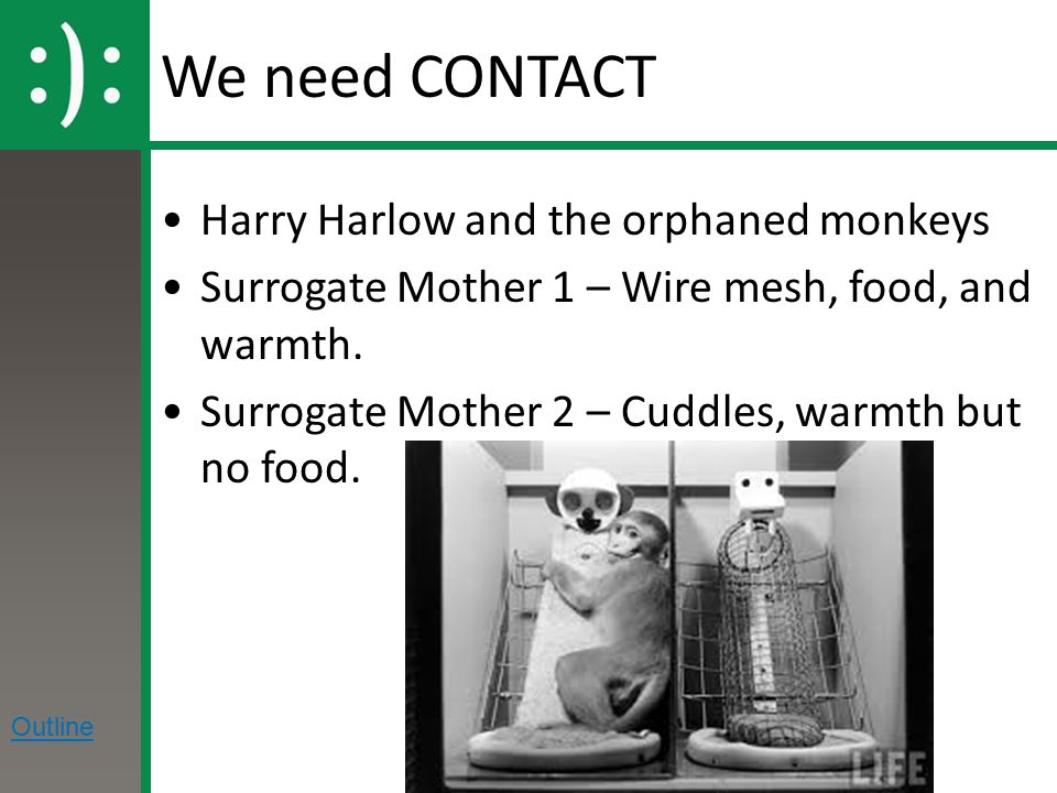 We need CONTACT Harry Harlow and the orphaned monkeys Surrogate Mother 1 – Wire mesh, food, and warmth.