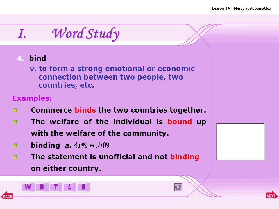 BTLEW I.Word Study 3. beckon Lesson 14 – Mercy at Appomattox v.