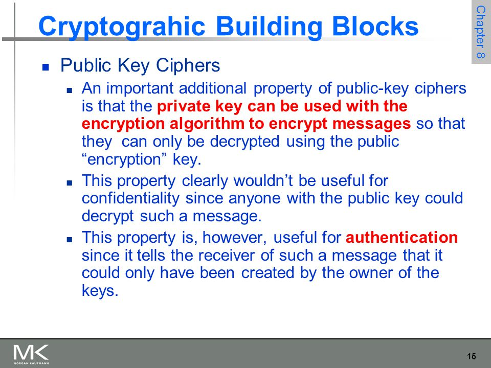 15 Chapter 8 Cryptograhic Building Blocks Public Key Ciphers An important additional property of public-key ciphers is that the private key can be used with the encryption algorithm to encrypt messages so that they can only be decrypted using the public encryption key.