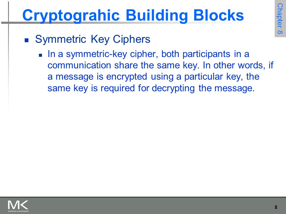 8 Chapter 8 Cryptograhic Building Blocks Symmetric Key Ciphers In a symmetric-key cipher, both participants in a communication share the same key. In