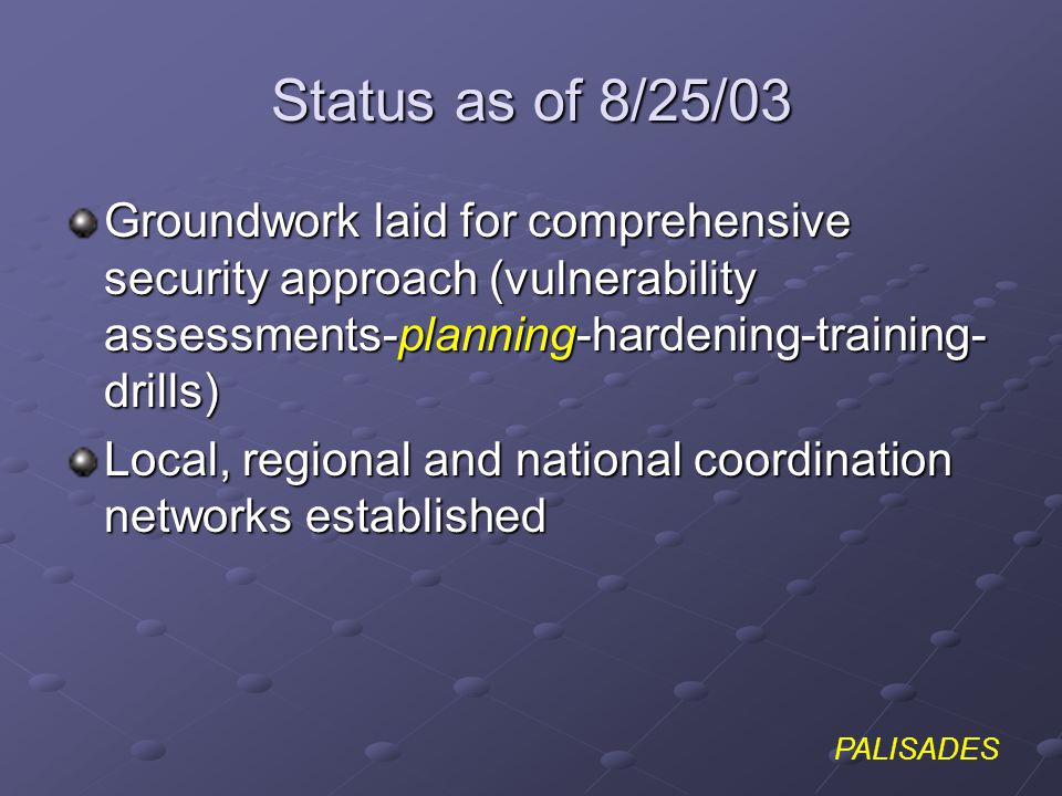 PALISADES Status as of 8/25/03 Groundwork laid for comprehensive security approach (vulnerability assessments-planning-hardening-training- drills) Loc