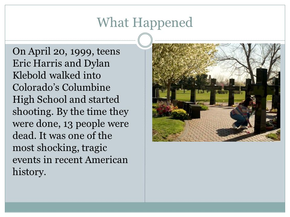 What Happened On April 20, 1999, teens Eric Harris and Dylan Klebold walked into Colorado's Columbine High School and started shooting.