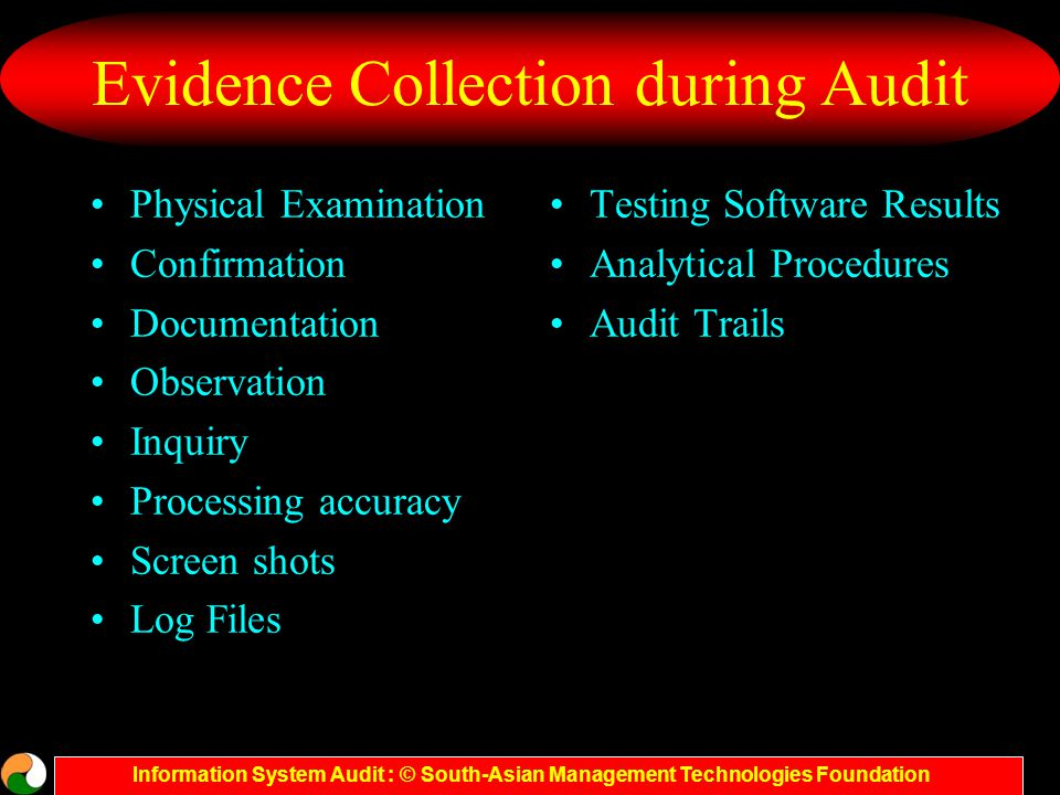 Information System Audit : © South-Asian Management Technologies Foundation Evidence Collection during Audit Physical Examination Confirmation Documentation Observation Inquiry Processing accuracy Screen shots Log Files Testing Software Results Analytical Procedures Audit Trails