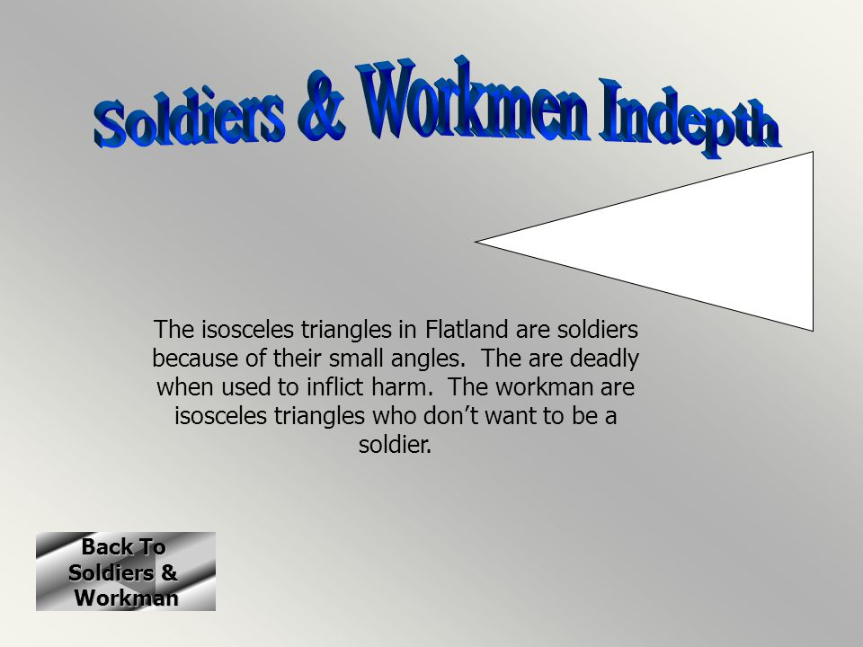 Back To Back To Soldiers & Soldiers & Workman The isosceles triangles in Flatland are soldiers because of their small angles. The are deadly when used