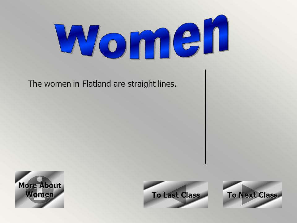 More About More About Women To Next Class To Next Class The women in Flatland are straight lines. To Last Class