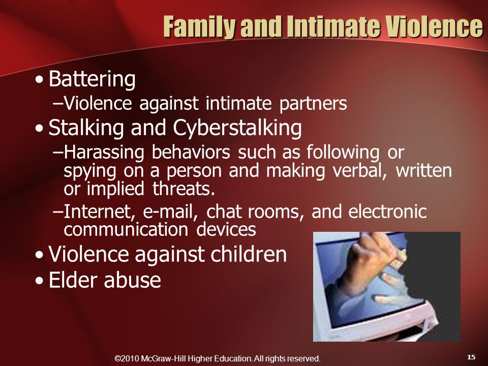 ©2010 McGraw-Hill Higher Education. All rights reserved. 15 Family and Intimate Violence Battering –Violence against intimate partners Stalking and Cy