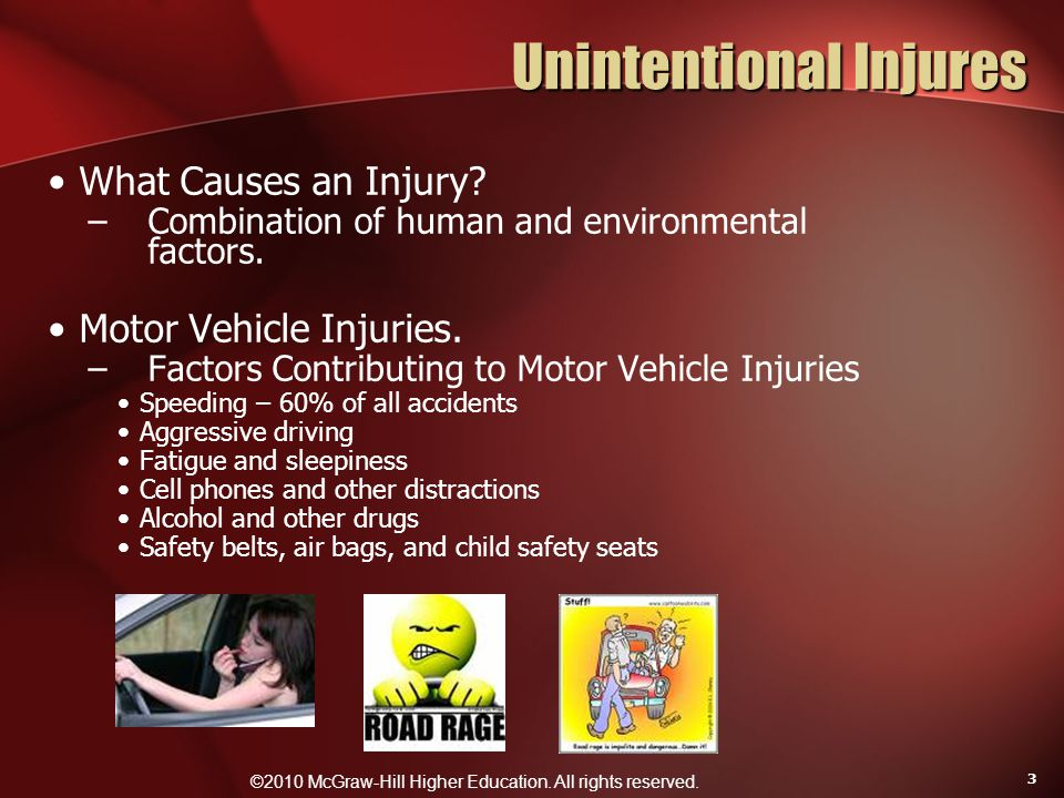 ©2010 McGraw-Hill Higher Education. All rights reserved. 3 Unintentional Injures What Causes an Injury? –Combination of human and environmental factor