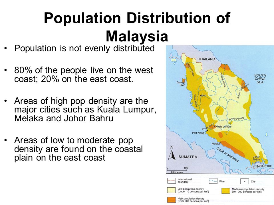 Relief Lowland areas/low reliefs are able to support a dense population Development of settlements, transport, agriculture and industry Central northern part is sparsely populated because it is mountainous
