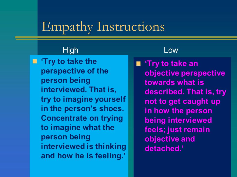 Empathy Instructions 'Try to take the perspective of the person being interviewed.